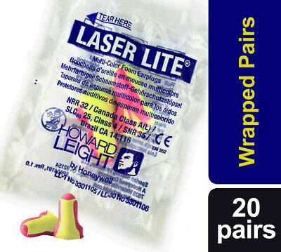 40 Soft foam ear plugs (20 pairs) Howard Leight Laser Lite Earplugs SNR 35dB