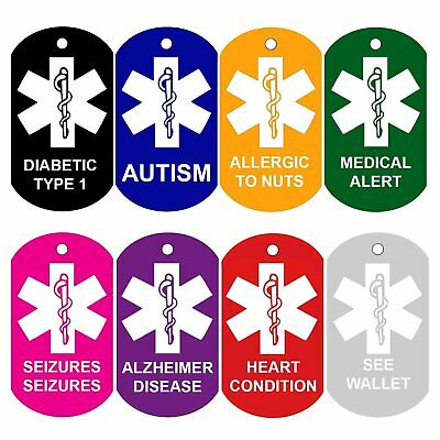 Medical Alert ID Tags Personalized Front and Back Medical Alert Logo Charms Tags