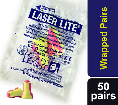 100 Soft foam ear plugs, (50 Pairs) Howard Leight Laser Lite Earplugs SNR 35dB