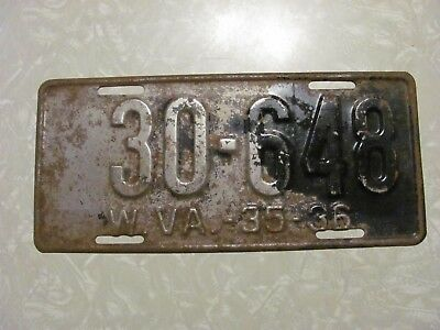 1935 - 36 West Virginia License Plate Free Shipping