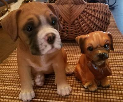 BOXER LOT Puppy Dog Life Like Realistic Figurine Statue Home Porcelain sitting