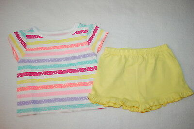 Baby Girls Outfit S/S COLORFUL STRIPE TEE SHIRT Yellow Knit Ruffle Shorts 0-3 MO