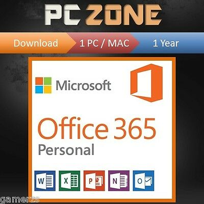 Microsoft Office 365 Personal - 1 User - 1 Year Subscription - 1 PC or MAC 2018