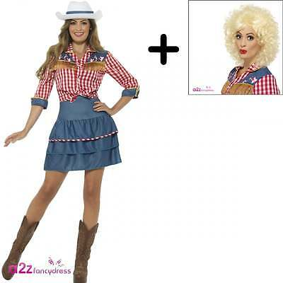 Womens Rodeo Doll Western Cowgirl 80s Dolly Parton Fancy Dress COSTUME + WIG