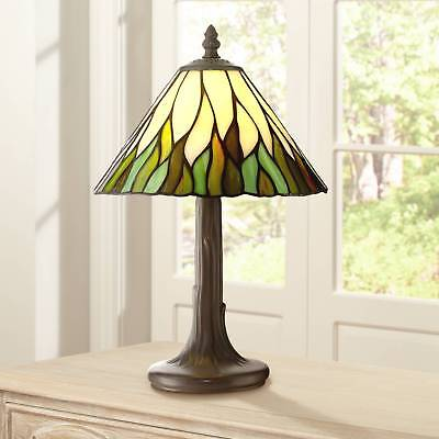 """Tiffany Style Accent Table Lamp 14 1/2"""" Brown Tree Stained Glass for Bedroom"""