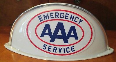 Vintage Aaa Servive  Advertising Sign Lighted Cab Topper Gas Oil Station N.o.s.