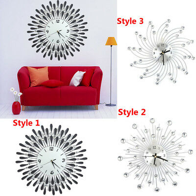 UK Clear Diamante Beaded Jeweled Black/White Sunflower Metal Spiked Wall Clock