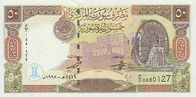 Syria 50 Pounds Banknote,1998,Choice About Uncirculated Condition Cat#107
