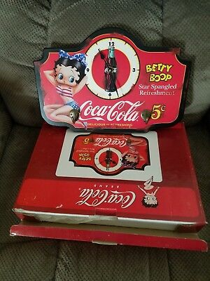 Fantastic Betty Boop Coca Cola Wall Hanging Clock And Keyhooks In Box Never Used