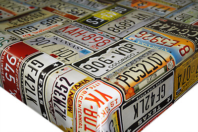U.S.A Car Licence Plate Multi PVC Tablecloth Vinyl Oilcloth Kitchen Dining Table