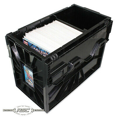 BCW SHORT COMIC BOOK BIN - Black Plastic Storage Box w/One Partition - 1-Box!