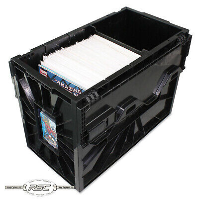 BCW SHORT COMIC BOOK BIN - NEW Black Plastic Storage Box w/One Partition - 1-Box