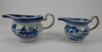 Pair of Antique Chinese Export Canton Blue and White Snub nose Pitchers 7.25