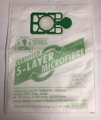 Vacuum Cleaner Microfibre Dust Bags For Numatic Henry Hetty James Hoover