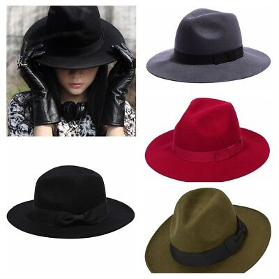 92a4d932 Vintage Unisex Fedora Retro Wide Brim Panama Hat Wool Jazz Cap Adjustable  Hat