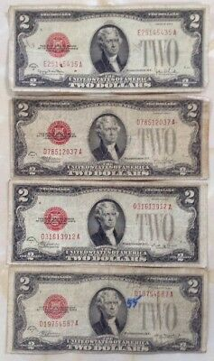 1928 D E F And G  $2 United States Note Red Seal Lot Of 4Pcs With Free Shipping