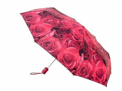 Fulton® Automatic Open & Close Ladies Compact Deluxe Folding Umbrella - Red Rose