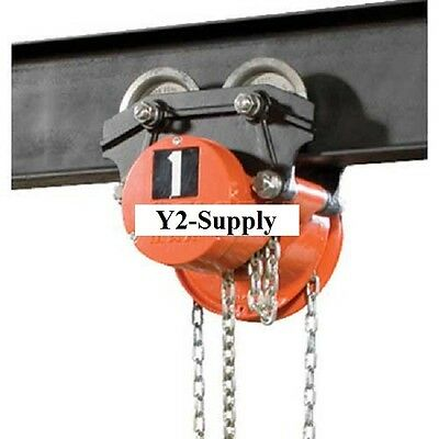 NEW! Hand Chain Hoist on Low Headroom Plain Trolley, 1 Ton, 10 Ft. Lift!!