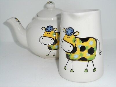 BN Cream Pottery Stoneware Funky Cow Teapot, Small Large Milk Jug Set, Cow Gift