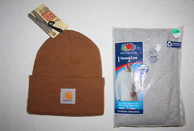 Men's Lot Carhartt Beanie Men's Thermal crew under shirt size XL New with Tags