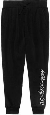 Hello Kitty Embroidered Black Jogger Pants Size 6 NWT