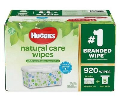 Huggies Natural Care Baby Wipe Refill Unscented 920 Ct Tub Tissue Alcohol Free!