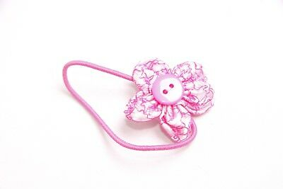 Beautiful Girls Small Skinny Elastic Pink Hair Band w Flower&Pink Button (S314)