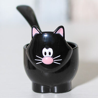 Novelty BPA Free Plastic Black Cat Kitten Egg Cup with Spoon Animal Holder Dish