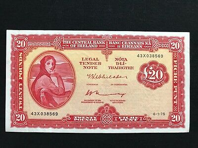 Lady lavery £20 pounds punts Central Bank of Ireland Banknote 1975