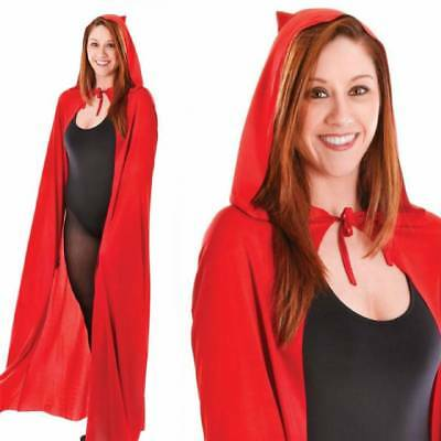 Adult Long Red Hooded Cape Cloak Coat 140cm Red Riding Hood Fancy Dress
