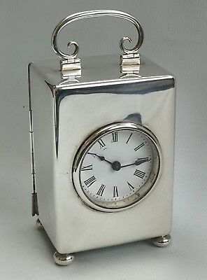 Vtg 1898 Victorian William Comyns & Sons Full Size Solid Silver Carriage Clock