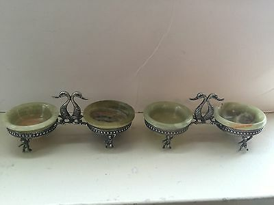 Pair Italian 800 Silver Salts Holders Ca. 1920 4Alabaster Bowls 4 Spoons