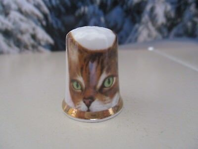 Vintage Fine Bone China Thimble Finsbury Tabby Cat Made in England