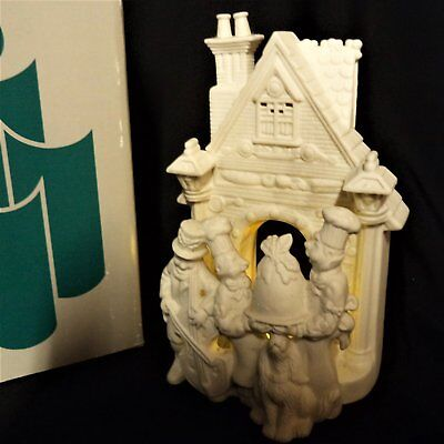 PARTYLITE Tealight Holder Christmas Bisque Porcelain BAKERY CAROLERS #P7123