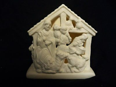 PARTYLITE Bisque Porcelain O LITTLE TOWN OF SHEPHERDS #P7313 Christmas Tealight
