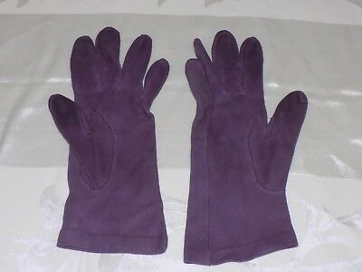 Vtg Purple Lord & Taylor Demi Broad French Cut Haute Couture Gloves Washable 7