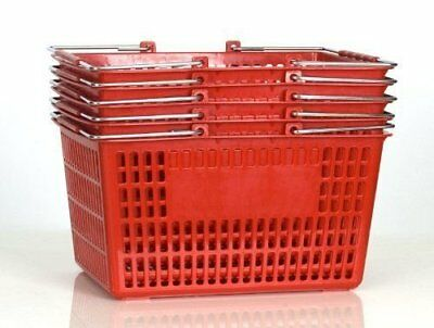 Shopping Basket Set of 5 Durable Red Plastic with Metal Handles