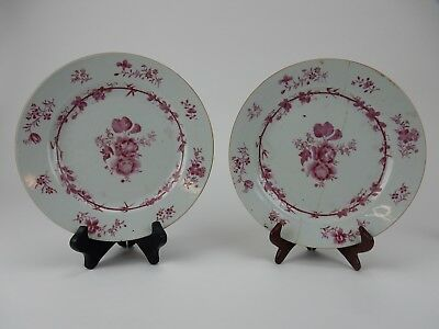 Pair of Chinese Export Famille Rose Famille Rose Plates Circa 1760  12""