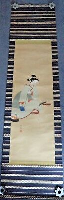 HUGE JAPANESE MEIJI c1900 SCROLL PAINTING GEISHA GIRL CALLIGRAPHY - SIGNED