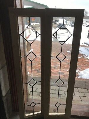 Sg 2143 Match Pair Antique Beveled And Leaded Sidelights 12.25 X 46