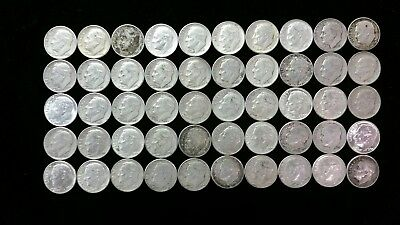 Lot of 50 Roosevelt Dimes, $5 Face Value, 90% Silver Content