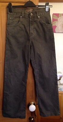 Blue Base Boys Dark Grey Striped Effect Denim Jeans - Aged 11 Yrs