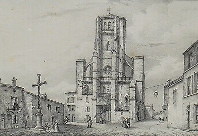 Lithography Original 19th - Cathedral Condom - Gers - J.Philippe