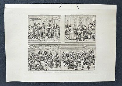 Original Engraving 19th - Autel money from the Baptistery Florence - P. Laurent