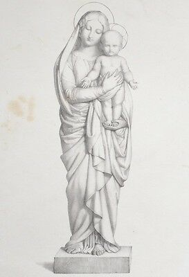 Lithography XIX° th - the Virgin and the child Jesus - Religious - Flandrin