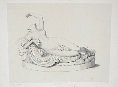 Lithography XIX° th - Sculpture Naked Woman - Charles-Auguste Fraikin - Belgium