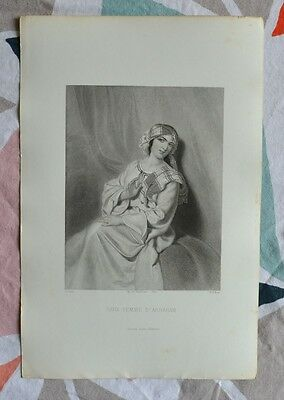 Beautiful Engraving 19th Sara Woman d'Abraham Bible Religion Gustave Staal