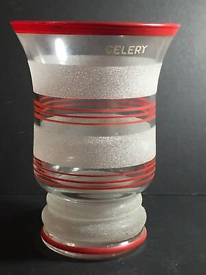 VINTAGE KITCHENALIA 1950s SUGAR GLASS CELERY VASE WITH RED STRIPED DESIGN