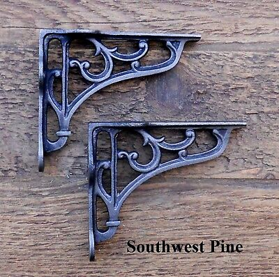 Pair Of Extra Small Victorian Scroll Antique Style Cast Iron Shelf Brackets 3""