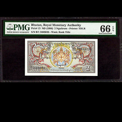 Royal Monetary Authority of Bhutan 2 Ngultrum ND 1986 PMG 66 GEM UNC EPQ P-13